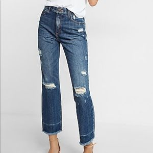 Express jeans - straight ankle high rise